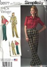 Simplicity D0577 8243 1940's Sportswear Wide Collar Blouse Trousers Sz 16-24