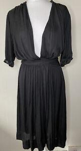 Isabel Marant Etoile Black Midi Wrap Dress Size 36 UK S Designer Classic