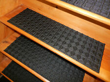 "🔴 13 STEP 91/2"" X 30""  Stair Treads RUBBER BACKING New Mats Black Durable Clean"