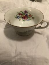 9 Wawel China Meissen Flower Tea Cups Gold Rim Made in Poland