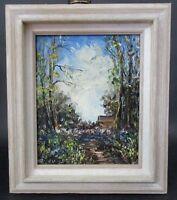 Wonderful Vtg Signed SIMONE European Landscape Forest Cabin Path Oil Painting