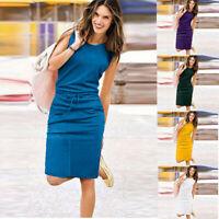 Women Girl Sleeveless Sundress Summer Boho Party Beach Casual Mini Dress HQY