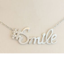 SMILE NECKLACE STERLING SILVER CUTE TRENDY ADJUSTABLE 16' OR 18'