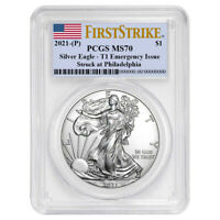 2021 (P) $1 American Silver Eagle PCGS MS70 Emergency Issue FS Flag Label