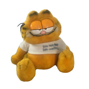 Dakin Garfield Not Fat Plush Toy Vintage Old Tshirt 1978, 1981 Cat 23cm Tall