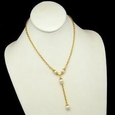 NAPIER Vintage Pendant Necklace Faux Pearls Dangle Gold Plated Chain Very Pretty
