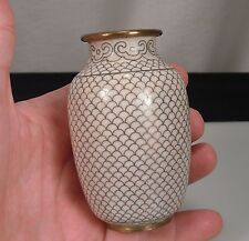 Chinese Cloisonne White Fish Scale Vase 3.75""