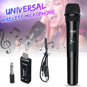 V10 Funk Mikrofon Wireless Microphone VHF USB 2 Kanal Funkmikrofon w/ Empfänger