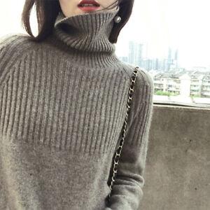 Fashion Women Sweater Turtleneck Knitting Pullovers Solid Warm Female Sweater#