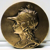 ANTIQUE FRENCH BRONZE MARIANNE MEDAL ROOSTER ON HELMET