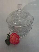 Vinage Cut Glass Stemmed Dish with Lid/ Heavy Glass with Cut Glass Pattern