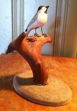 SWEET VINTAGE MOUNTED BIRD CARVING FOLK ART