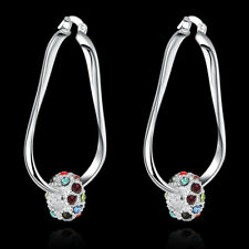 Stunning 925 Sterling Silver Filled Woman Wedding Filigree Earrings Gift E-A642
