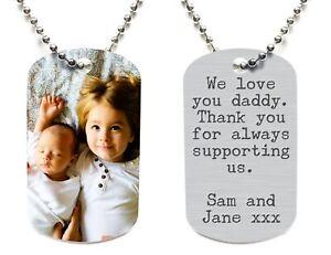 Personalised Mens Photo Text ID Dog Tag Birthday Gift Idea. Husband Dad. 2 Sided