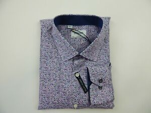 Duchamp DU646 Purple Lavender Floral Printed Stretch Dress Shirt Men's New Slim