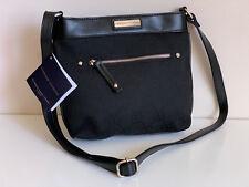 NEW! ADRIENNE VITTADINI BLACK SIGNATURE JACQUARD CROSSBODY SLING BAG PURSE $168