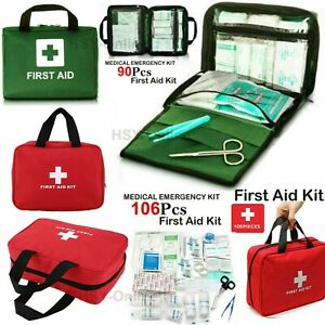 106 & 90Piece First Aid Kit Emergency Medical Bag Travel Car Home Work Workplace