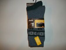 JEEP Mens 2 Pair Blue THERMAL Wool Blend ALPINE Crew Boot SOCKS Size 7 - 12 NEW