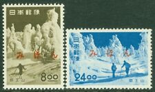 EDW1949SELL : JAPAN 1951 Scott #523-24 Sports, Skiing Ovpt 'MIHON' Backstamped