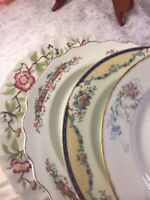 4 Vintage Mismatched China Luncheon Plates Pink Blue Green Florals  # 310