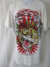 ED HARDY Christian Audigier Tiger Roses White V Neck T-Shirt Men's Size 2X XXL