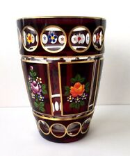 Antique Hand Painted Royal Bohemia Crystal Vase 24k Gold painted