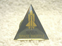 "VINTAGE NASA SPACE SHUTTLE 1"" METAL & ENAMEL TRIANGLE TIE LAPEL PIN  - NICE"