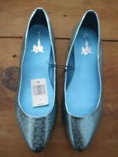 NWT MICKEY MOUSE EMBOSSED METALLIC FLAT SHOES BLUE SIZE 7 DISNEY PARKS