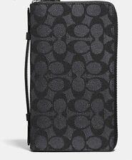 COACH Men's Signature Double Zip Long Travel Organizer Wallet F93504 Black NWT