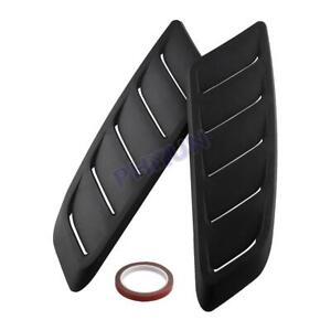 Black Car Hood Vent Bonnet Scoop Cover Trim Air Flow Intake Stickers Universal