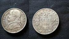 PAPAL STATE STATO PONTIFICIO PIUS IX 2 LIRE 1867 SILVER ARGENTO
