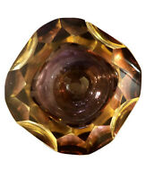 Vintage 1960's MCM Murano Sommerso Faceted Geode bowl Amethyst/Amber