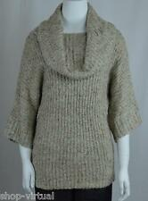 Fever Womens New Beige Cowl Neck Short-Sleeves Tunic Pullover Sweater MSRP $84 S