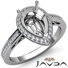 Diamond Engagement Pear Ring 18k White Gold Halo Pave Setting Semi Mount 0.5Ct