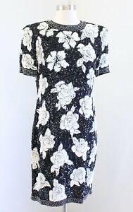 Vtg Joan Leslie Black White Floral Silk Beaded Sequin Party Evening Dress Size 8