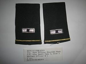 Pair Of US Army WARRANT OFFICER 1 Small Shoulder Badges Epaulets