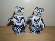 2 Porzellan Katzen Figur Blau/Weiß Dekoration im Geschenkbox Neu