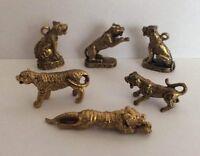 LOT 6 x statuette figurine laiton amulette animal TIGRE FAUVE ASIE Cambodge a2
