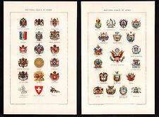 2 Color Plates: NATIONAL COATS OF ARMS 1903 by JULIUS BIEN Color Lithographs