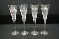 Set of 4 Waterford Crystal 12 DAYS of CHRISTMAS Lismore & Clare Champagne Flutes