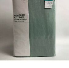 NEXT Sage Green Brushed 💯 % Cotton Deep Double Fitted Bedding Bed Sheet New