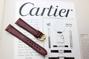 CARTIER TANK (Le Must)BURGUNDY RED LIZARD STRAP 18mm-BUCKLE-NEW(Santos Panthere)