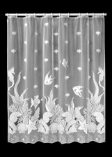 Heritage Lace White SEASCAPE Shower Curtain - Shells, Fish