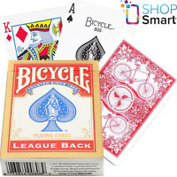 BICYCLE LEAGUE BACK STANDARD INDEX POKER PLAYING CARDS MAGIC TRICKS RED USA NEW