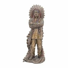 DEKO Indianer Figur Häuptling bronziert Country Western Dekoration Nn48