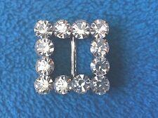 Square Crystal Rhinestone Belt Buckle silver-tone metal  1.25 inch - 2 buckles