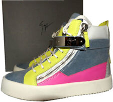 Giuseppe Zanotti May High-Top Denim Colorblock Double Zipper Sneakers 37 Shoes