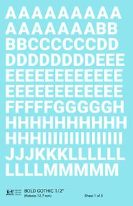K4 G Decals White 1/2 Inch Bold Gothic Letter Number Alphabet Set