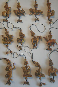 Chinese Zodiac Signs Pendants Animals Rosewood effect