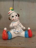Cute Vintage Ceramic Clown Figurine ~ Polka Dots ~ Baby Clown